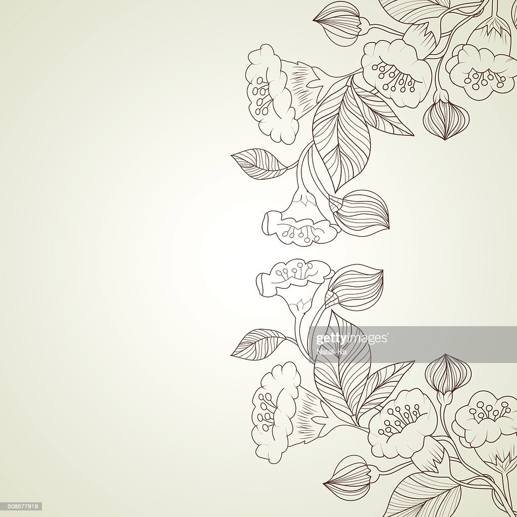 Abstract background with flowers in vintage style : Vector Art