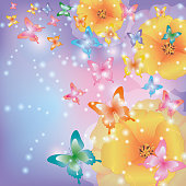 Abstract background with flowers poppies and butterflies