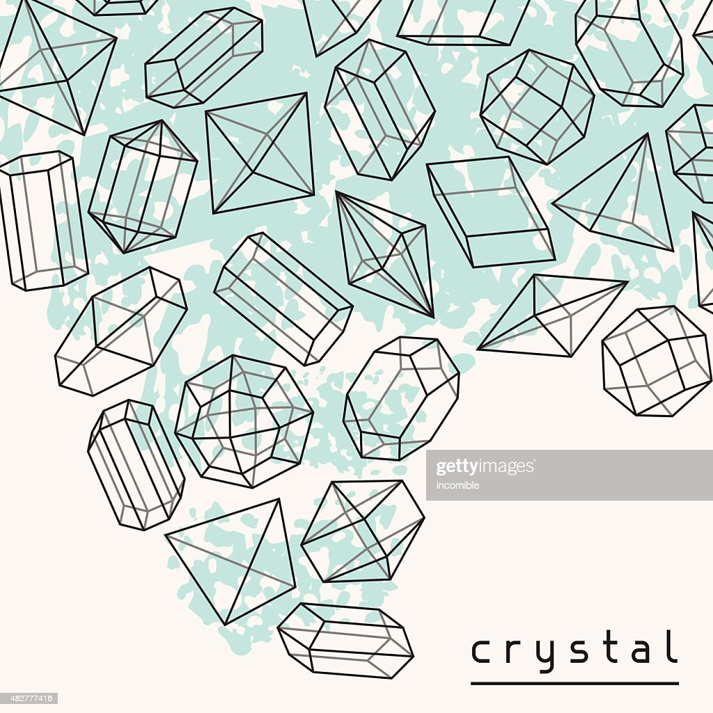 Abstract background with geometric crystals and minerals