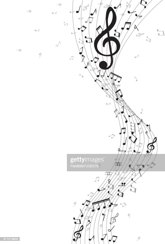 Abstract Background with gold color Music notes. Vector Illustration