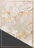 Abstract background with golden marble stone texture and gold frame. Vector illustration design.
