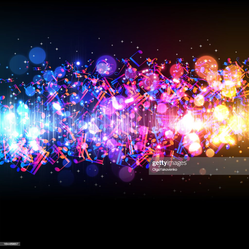 Abstract background with lights and colorful music notes