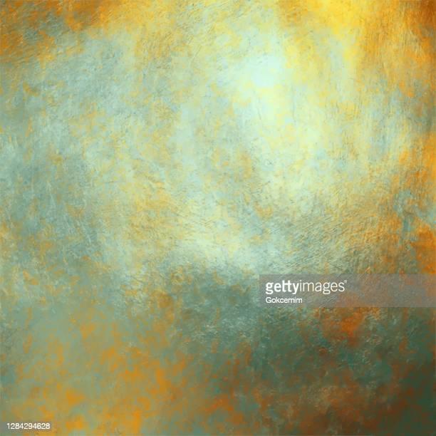 abstrakte hintergrund mit multi farbigen aquarell pinselstrich auf goldfolie textur. weiche pastell grunge textur. bunte pinselstrich clipart. metallic blot isoliert. elegante textur design element für grußkarten und etiketten, abstrakte hintergrund. - acrylmalerei stock-grafiken, -clipart, -cartoons und -symbole