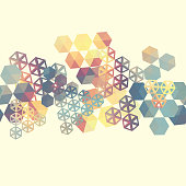 Abstract background with multicolor hexagons