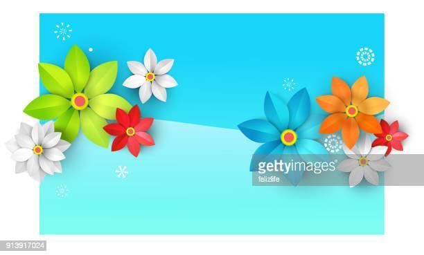 zusammenfassung hintergrund mit papierblumen - blütenblatt stock-grafiken, -clipart, -cartoons und -symbole