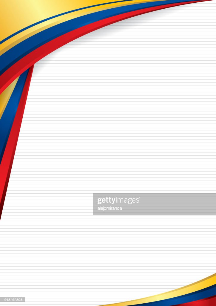Abstract background with shapes with the colors of the flag of Ecuador, Colombia and Venezuela, to use as Diploma or Certificate. Format A4