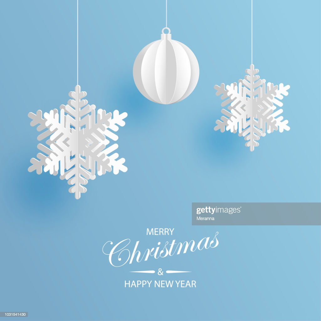 Abstract background with volumetric paper snowflakes and christmas ball. White 3D snowflakes and decorations. Xmas and new year card template. Winter paper art design