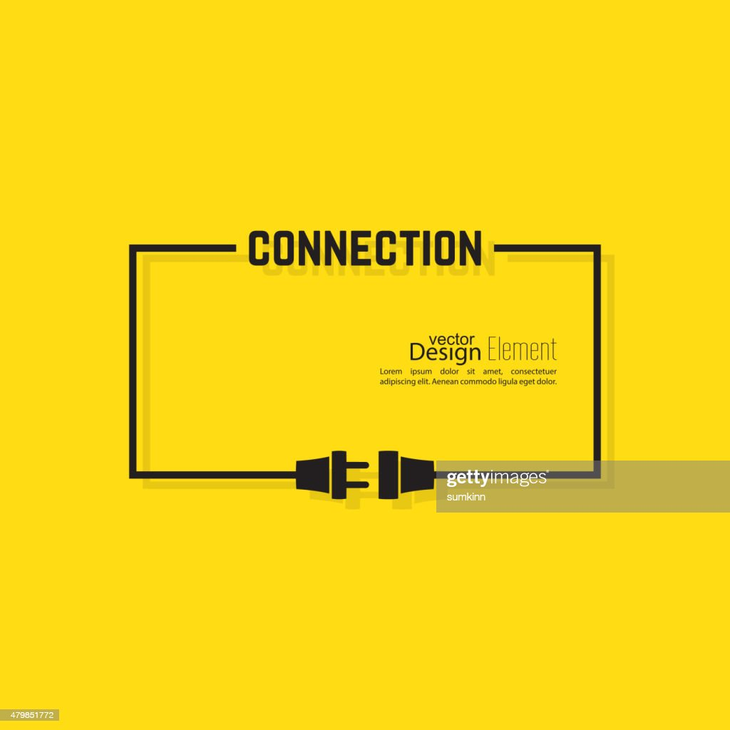 Abstract background with wire plug and socket