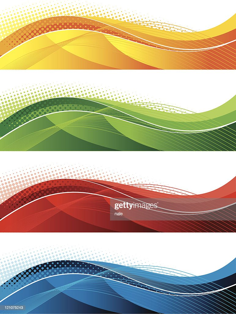 abstract banner in four colours - five