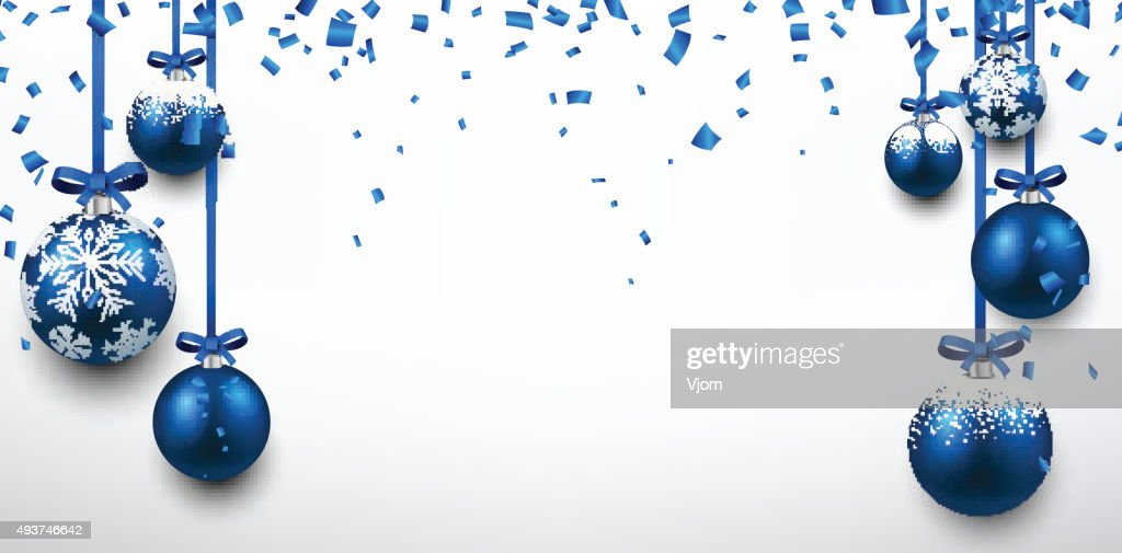Abstract banner with blue christmas balls