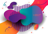 Abstract Banner with Ultra color gradient shape isolated on white background.  Unique abstract graphic elements. Minimal modern style composition. EPS10 vector illustration.
