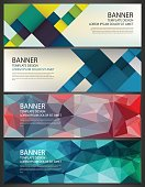 Abstract Banners set. Polygonal geometric and colorful squares. Vector