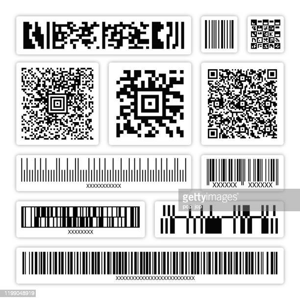 illustrations, cliparts, dessins animés et icônes de code à barres abstrait, code qr, code d'emballage stickers set vector - code barre