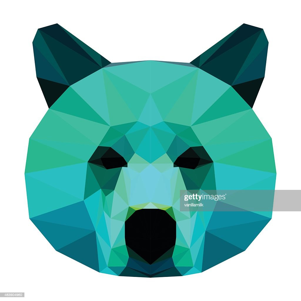 Abstract bear head. Polygonal geometric triangle bright isolated portrait