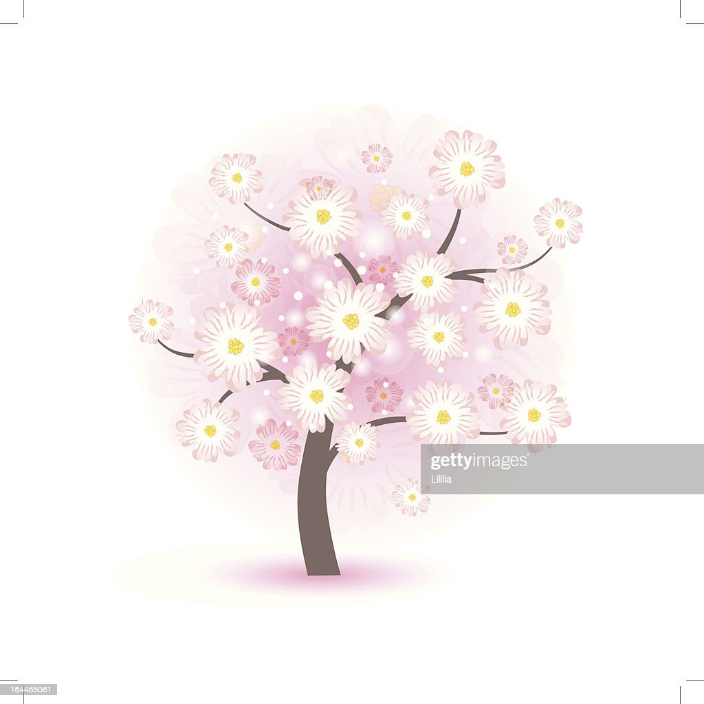 Abstract beautiful blossom tree with pink flowers