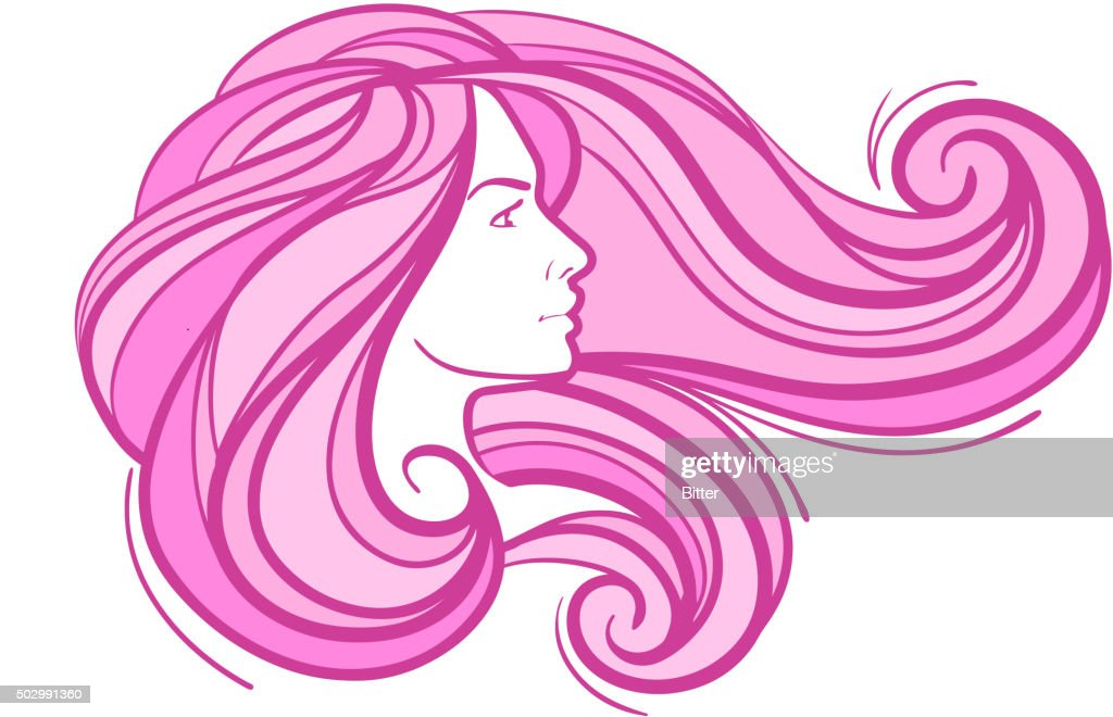 abstract beautiful young girl with long hair. vector illustration