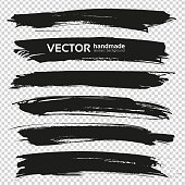 Abstract big black long thick brush strokes set isolated on imitation transparent background