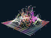 Abstract  big data 3D visualization. financial information complexity. Business analytics representation.