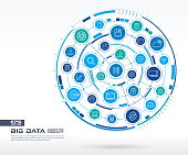 Abstract big data background. Digital connect system with integrated circles, glowing thin line icons.