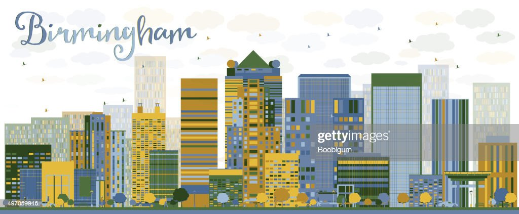 Abstract Birmingham (Alabama) Skyline with color Buildings