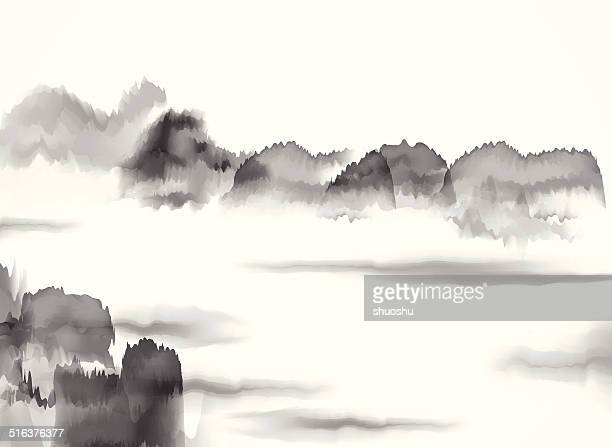 abstract black and white chinese painting material background - ink stock illustrations, clip art, cartoons, & icons