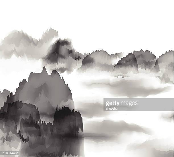 abstract black and white Chinese painting mountain background