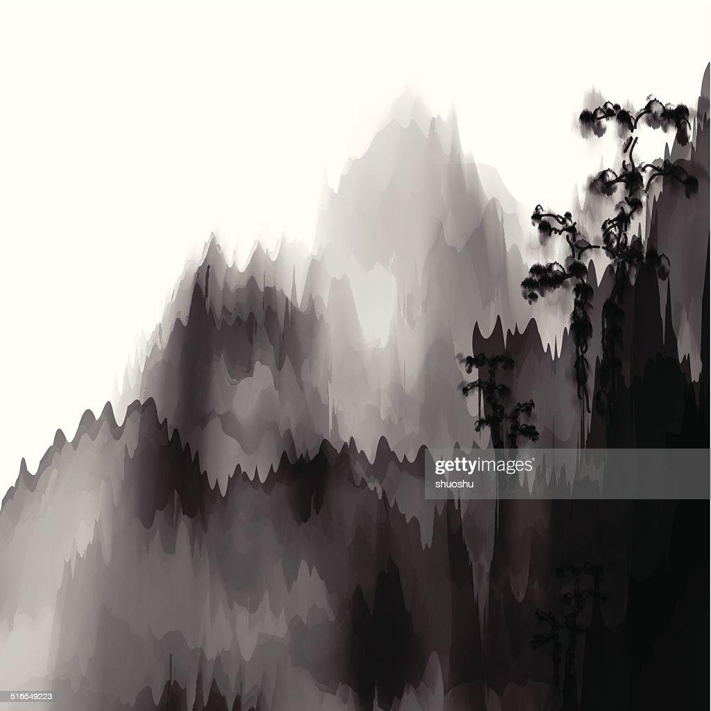 Abstrakt schwarz und weiß chinesische Malerei mountain material Hintergrund : Stock-Illustration