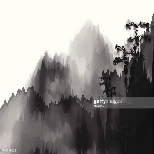 Abstrakt schwarz und weiß chinesische Malerei mountain material Hintergrund