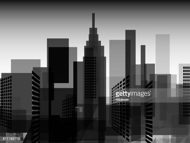 abstract black and white city pattern background