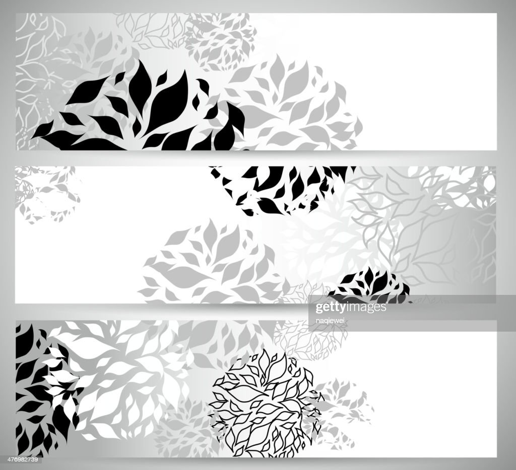 abstract black and white floral pattern banner background