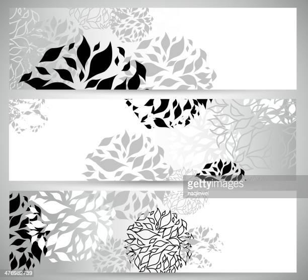 Abstrakte schwarzen und weißen Blumenmuster-banner Hintergrund