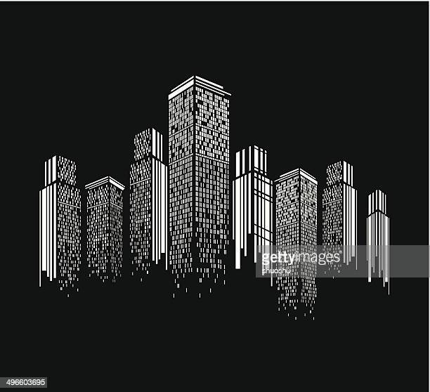 abstract black and white modern building pattern background - skyscraper stock illustrations