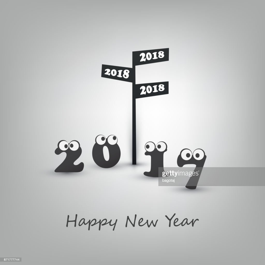 Abstract Black And White Modern Style Funny Happy New Year Greeting ...