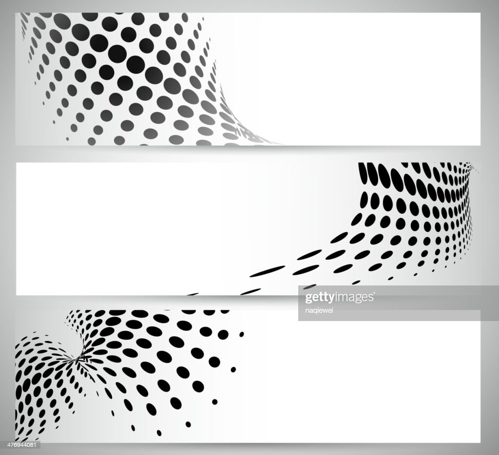 abstract black and white polka dot pattern banner background