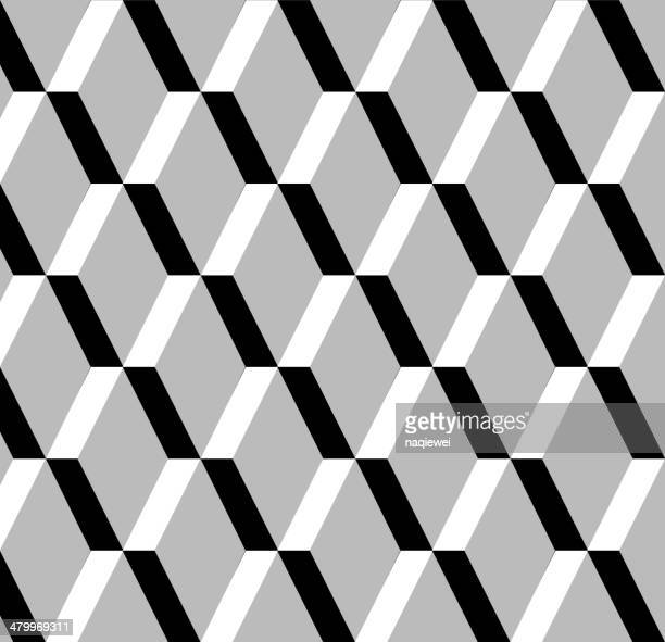 abstract black and white rhombus pattern background - textile industry stock illustrations