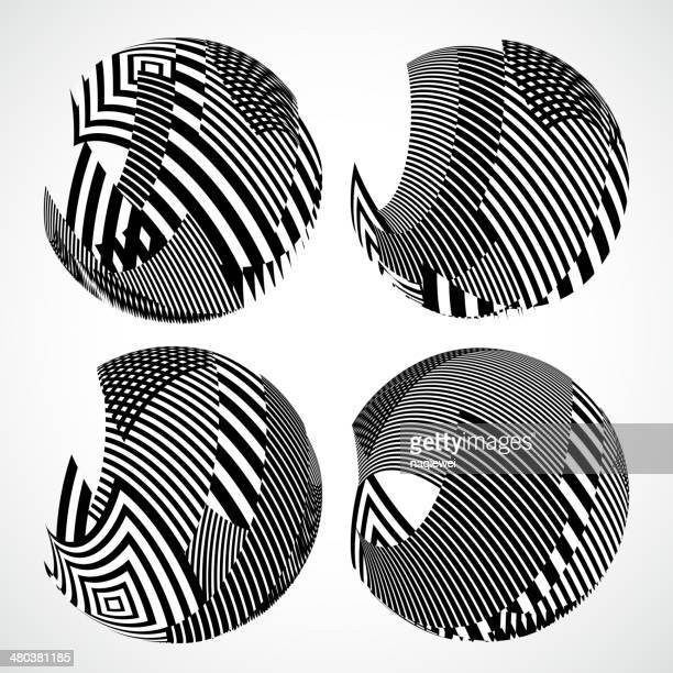 abstract black and white round style stripe shape background