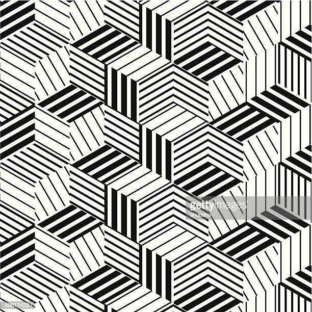 abstract black and white stripe pattern background - illusion stock illustrations