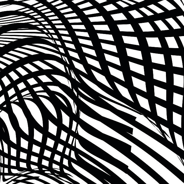 Abstract Black And White Stripe Shape Background Wall Art