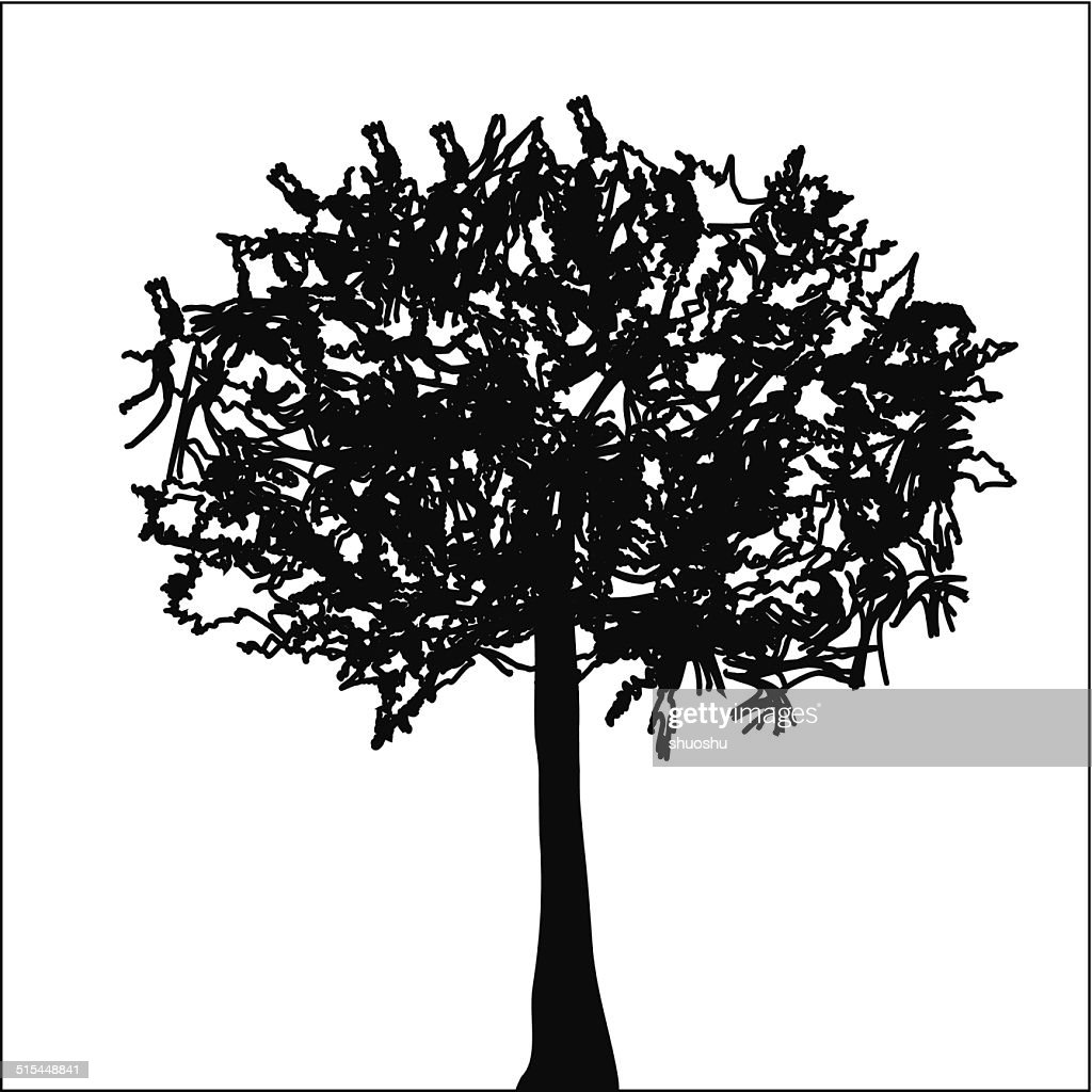 Abstract Black And White Tree Pattern For Design Vectorkunst Getty