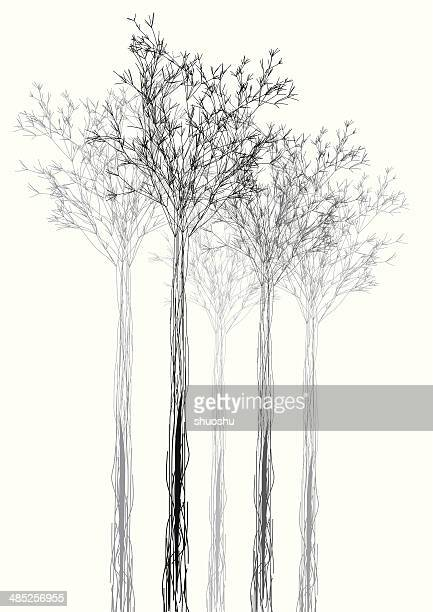 abstract black and white tree shape background - pencil drawing stock illustrations