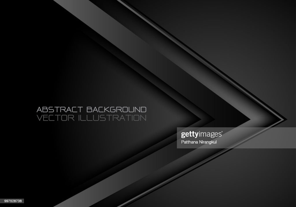 Abstract black metallic arrow direction design modern luxury futuristic background vector illustration.