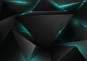 Abstract Black Polygons Technology Background. Green lights effe