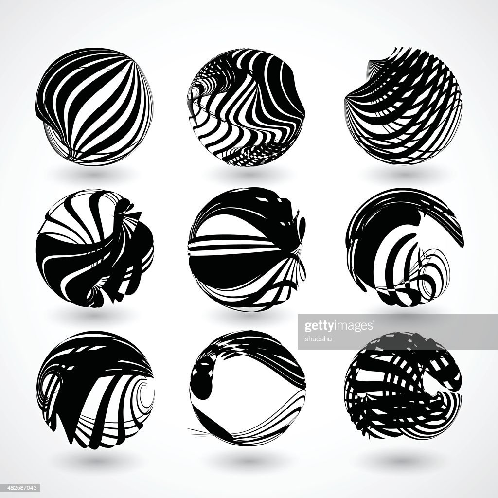 abstract black stripe round shape background