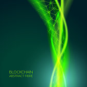 Abstract Blockchain Fiber Network Background