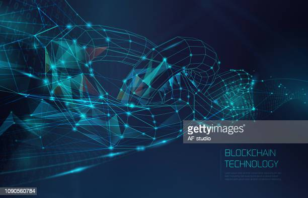 abstract blockchain network background - cryptocurrency mining stock illustrations