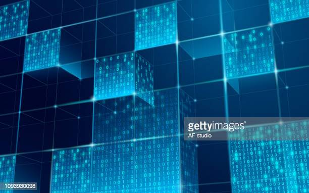 illustrazioni stock, clip art, cartoni animati e icone di tendenza di abstract blockchain network background - big data