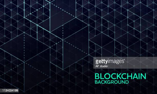abstract blockchain network background - shape stock illustrations