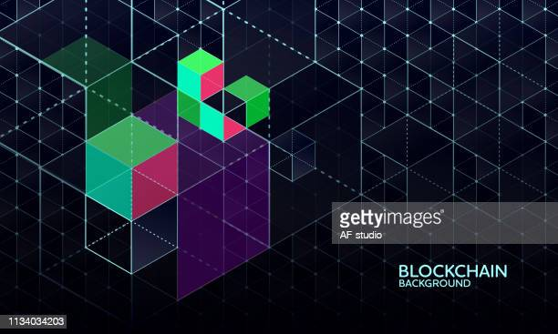 abstract blockchain network background - blockchain stock illustrations