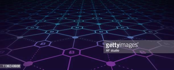 ilustrações, clipart, desenhos animados e ícones de fundo abstrato da rede do blockchain - panorâmica
