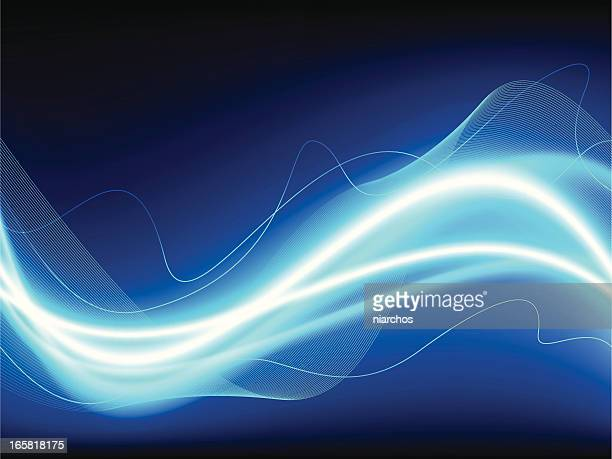 abstract blue and white light waves - igniting stock illustrations
